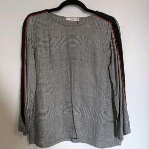 MANGO longsleeved plaid blouse NWT